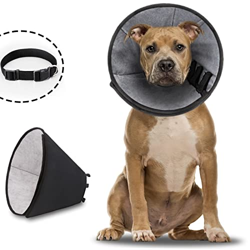 Dog Cone Soft Dog Cone Collar After Surgery with A Free Dog Collar,Adjustable Protective Dog Cones for Large Dogs,Comfortable Dog Recovery Cone with...