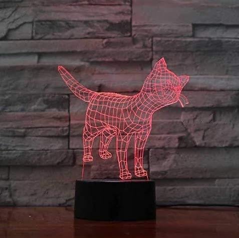 Preisvergleich Produktbild 3D Nachtlicht Creative 7 Farbwechsel 3D LED Tier Nachtlichter USB Touch Visual Cat Tischlampe Kinder Schlafzimmer Schlaf Beleuchtung Spielzeug Geschenke Decor-Remote_and_Touch