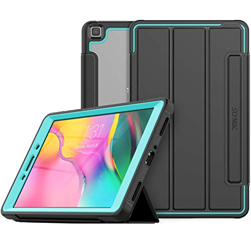 SEYMAC Stock Galaxy Tab A 8.0 Case Heavy Duty Drop Poof Smart Cover Auto Sleep Wake with Leather Stand and Clear Feature for Galaxy Tab A 8.0 SM-T290/T295/T297 2019 Release (Black/Green)