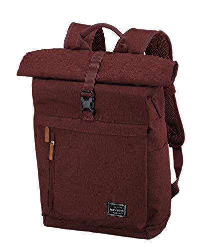 Travelite Handgepäck Rucksack mit Laptop Fach 15,6 Zoll, Gepäck Serie BASICS Daypack Rollup: Praktischer Rucksack mit Rollup Funktion, 096310-70, 60 cm, 35 Liter, bordeaux (weinrot)