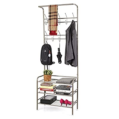 Homfa Metal Entryway Coat Shoe Rack 3-Tier Shoe Bench with Coat Hat Umbrella Rack 20 Hooks