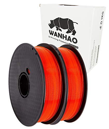 OFFERTA SPECIALE WANHAO PLA PREMIUM ARANCIO TRASPARENTE 2x1KG / 1.75MM - FILAMENTI PER STAMPANTE 3D