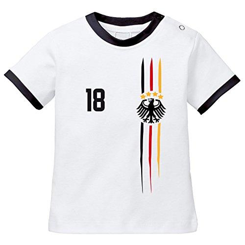 EZYshirt® WM & EM Deutschland Shirt | WM Sternchen | M 03 | Wunschname und Nummer Baby T-Shirt Bio Baumwolle