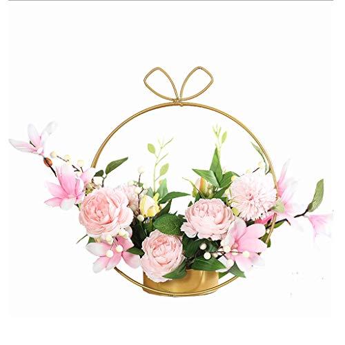 Künstliche Blume Kreative Simulations-Blumen-Set Gefälschte Blume Silk Flower Wohnaccessoires, Wohnzimmer Eisenblumenkorb Geschenk der Mutter Tages, künstliche Blumen künstliche gefälschte Blumentopf