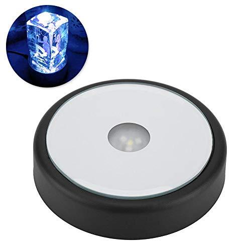 Zyyini LED Light Display Base, LED Light Display Ständer, Lampenständer USB Oder Batteriebetriebene Runde Led Light Base Mit 6 Farbwechselnden Lichtern Perfekt FüR Heimtextilien Und Kristalle