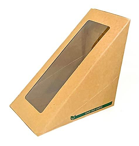 Envase para sandwich de papel kraft, desechable y ventana transparente. 50 unidades