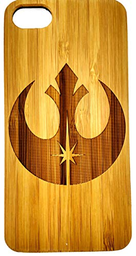 Apple iPhone 7 / 8 Star Wars Rebel Alliance Estuche de madera ecológico tallado natural Láser híbrido Grabado Funda protectora ultra delgada para la espalda