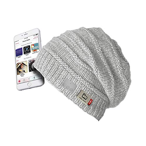 Wintermuts met draadloze hoofdtelefoon en geïntegreerde microfoon, wit