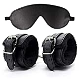 Huangte Soft Fur Leather Adjustable Sexy Handcuffs and Blindfold Set Men Women Role Play