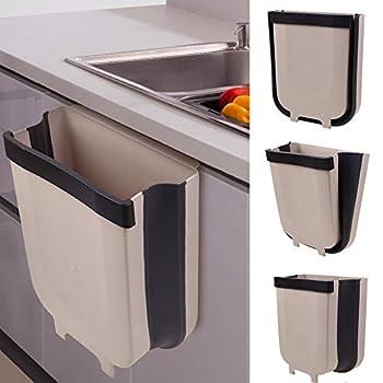 Tlever1 Small Bathroom Kitchen Trash Can Folding Waste Bin 5L Wall Mounted Cabinet Door Car Hanging Trash Bin Garbage Car Trash Can Foldable Garbage  1