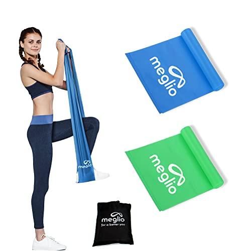 MEGLIO Banda Elastica Latex-Free per Mobilita` Forza & Riabilitazione Qualita` Premium 1,2 e 2 Metri Manuale Incluso (1,2m, Verde e Blu)