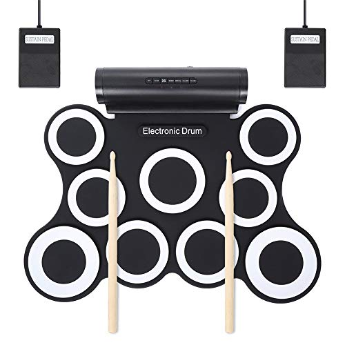 Great Deal! Electronic Drum Set Roll Up Portable Drum Kit USB MIDI Roll Up Electronic Drum Set Pract...