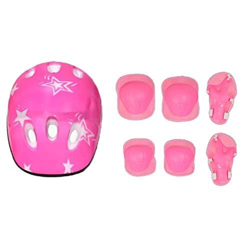 Serenable Cotovelo De Segurança Joelheiras De Pulso Protetor De Equipamento De Proteção Esportiva Para Patinação Infantil - Rosa 7Pcs