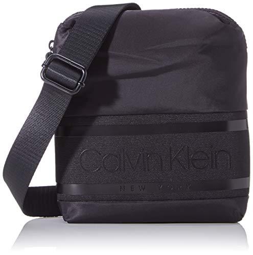Calvin Klein Striped Logo Mini Reporter - Borse a spalla Uomo, Nero (Blackwhite Black), 1x1x1 cm (W x H L)