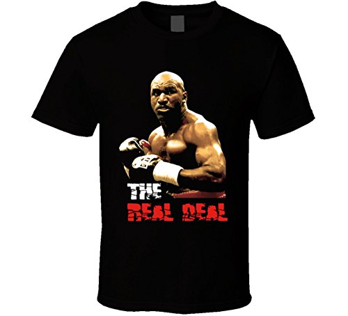 Evander Holyfield Real Deal Boxing T Shirt L Black