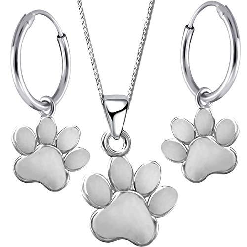 Damen Mädchen Set Halskette mit Anhänger Creolen echt 925 Sterling Silber Hunde Pfote Pfötchen Brisur Ohrringe K488o+K490o 40cm
