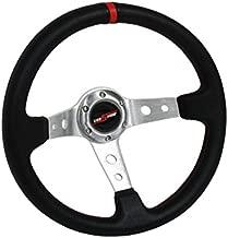 GODSNOW 350mm Deep Dish 6 Bolt Steering Wheel Universal Custom (RED-CHROME)