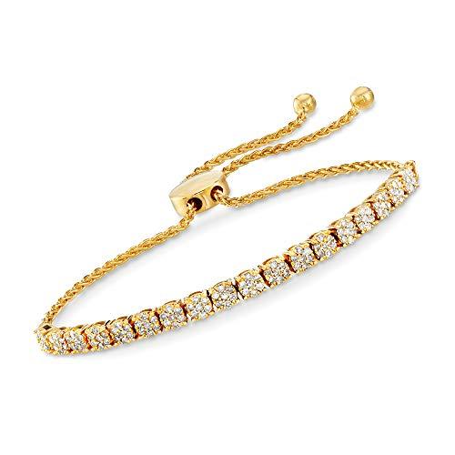 Ross-Simons 1.00 ct. t.w. Diamond Cluster Bolo Bracelet in 18kt Gold Over Sterling