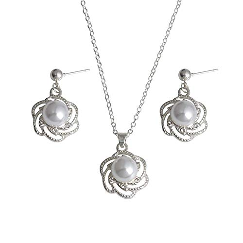 UBL PULABOWedding - Juego de collar y pendientes de perlas de imitación para novia, diseño de flores huecas