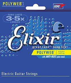 Elixir 12000 cuerdas para guitarra eléctrica con revestimiento de politejido, muy ligeras,...