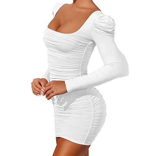 N\P Vestido sexy de manga larga para mujer, con espalda abierta, con hombros y hombros descubiertos.