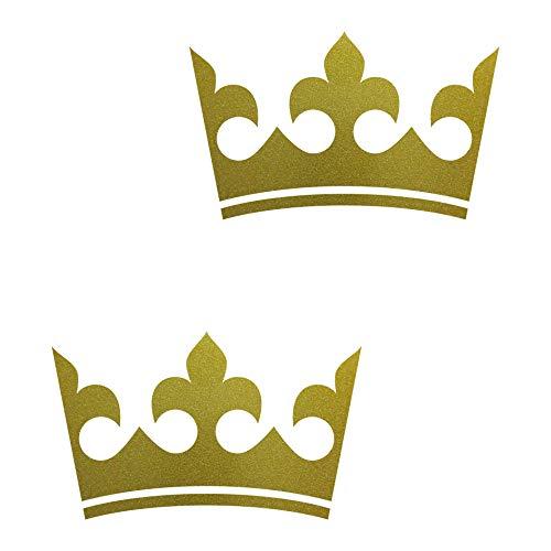 2 Aufkleber Krone 12cm gold Tattoo Auto Kinder König Möbel Tür Fenster Deko Folie