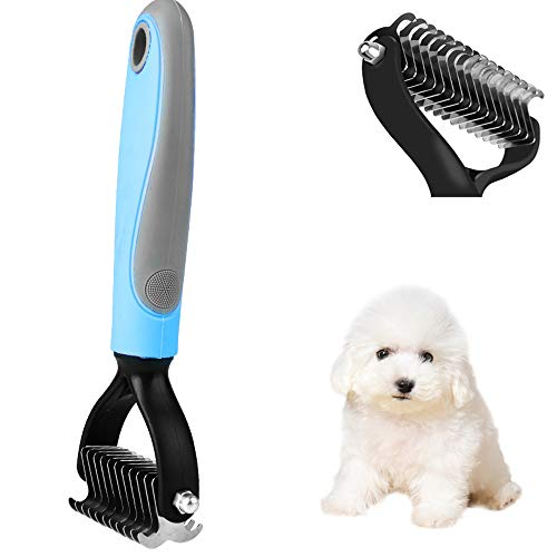 Hundesalon, Hundesalon Kamm für Teddy, Bichon, Chow Chow und andere kleine Hunde zum Entfernen von Haaren, 11 Zähne, blau