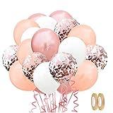 Globos de Confeti, 60 piezas Globos de Decoracione con 2 cintas, Globos de Fiesta Globos Cumpleaños Globos de Látex, para Decoraciones de Cumpleaños, Bodas, Graduación, Fiesta (Oro rosa)
