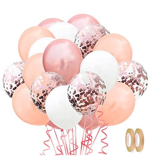 Coriandoli Palloncini, 60 Pezzi Palloncini in Lattice e 2 fasce colorate, Confetti Balloon Palloncini Battesimo, per Decorazioni Compleanno Anniversario Matrimonio Festa (Oro rosa)