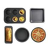Molde Para Hornear Juego De 5 Piezas | Molde para pasteles Bizcocho Tarta de pan Pizza Molde para el hogar Multifunción Conjunto de herramientas para hornear de acero al carbono, adecuado para princip