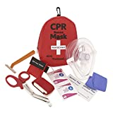 Emergency First Aid Kit - CPR Rescue Mask, Pocket Resuscitator w/One Way Valve, Disposable Razor, EMT Trauma Shears, Tourniquet, Gloves, Antiseptic Wipes | AED Training, Travel, Camping, Vehicles