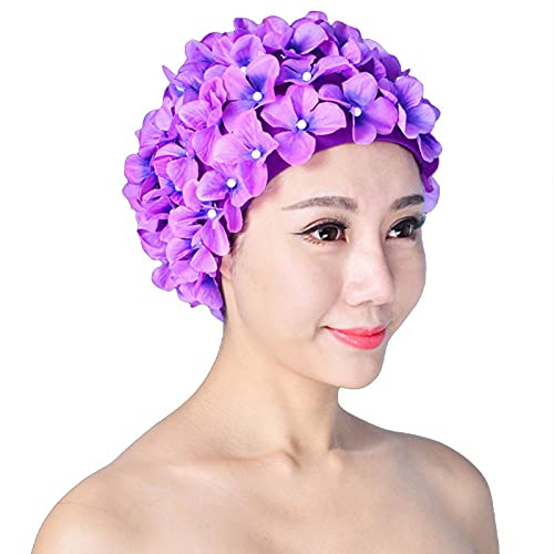 Gorro de baño de pétalo, gorro de natación a la moda, pétalos de flores 3D, elegante gorro de natación vintage, gorras de baño, ideales para todos los niveles de natación (morado)