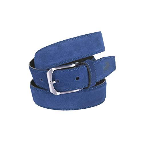 Lois - cinturon piel serraje hombre cuero marca 35 mm de ancho 49701, Color Azul