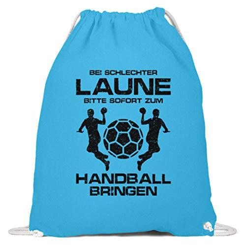 shirt-o-magic Handball: Schlechtgelaunt? Handball! - Baumwoll Gymsac -37cm-46cm-Himmel-Blau