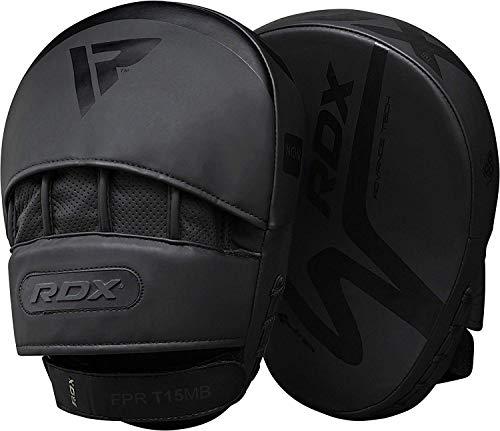 RDX Cojines de Boxeo MMA Manoplas de Boxeo | Cuero Negro Mate con Piel Ajustable y Correa Ajustable | Muay Thai Kick Boxing Artes Marciales Patada Pad