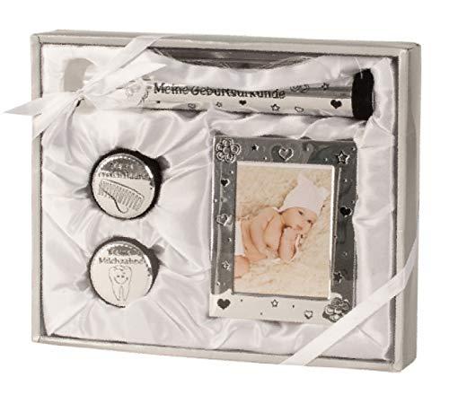 CH Handel - Set di 4 cornici per foto con impronte di piedi, per neonati, regalo per battesimo, nascita, certificato di nascita, in argento