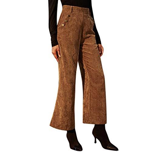 Xmiral Byxor för kvinnor enfärgad sladd fritidsbyxor knapp ficka breda ben byxor