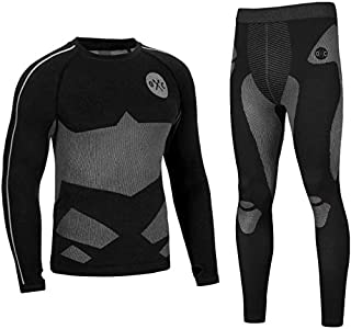 Occulto Ropa Interior TÉRMICA PANTALÓN & Camiseta Termico por Motocicleta ESQUÍ & Deportes Respirable & Secado rápido XL Negro