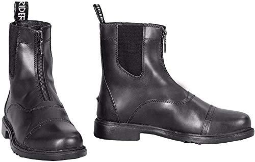 TuffRider Children's Baroque Front Zip Paddock Boots with Metal Zipper, Black, 4