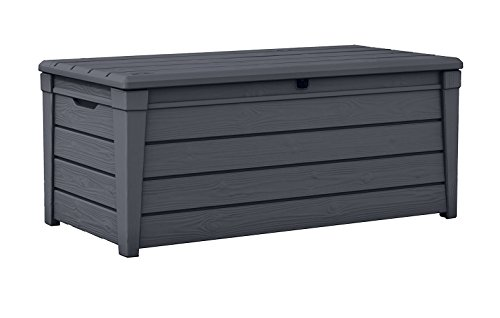 Keter Brightwood 120 Gallon Resin Large Deck Box for Patio Garden Furniture