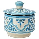 Orientalische Keramikdose Dosen aus Keramik Amra Blau 10cm | farbige Marokkanische Minzdose Tee Kaffee Dose aus Marokko | Orient Vintage Vorratsdose Gewürzdose rund | Geschirr orientalisch...