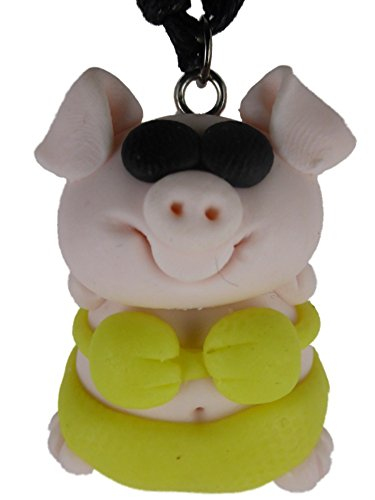 Kette Halskette mit handgemachter Figur rosa / gelb Schwein in Badehose Bikini Schweinchen 1263