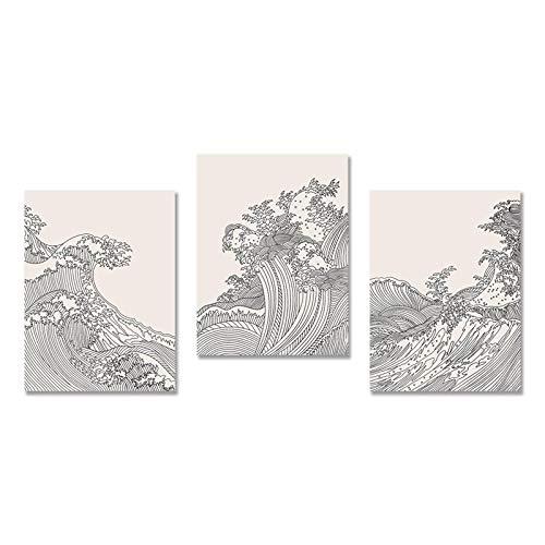 Impresión en lienzo 3 piezas Cuadro moderno Hombres en Origami Barcos de papel rojo flotando en el cielo nublado - Póster en lienzo Arte de pared moderno para el hogar 70x100cm Sin marco 27