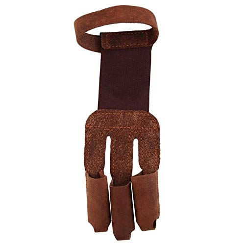 Coner Archery Protect Glove 3 Fingers Tip Pull Bow Arrow Leather Hunting Gants Protector Finger Guard Protect, Brown