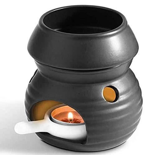 BSTKEY Quemador de aceite de cerámica Quemador de cera Diseño extraíble con cuchara de vela, modelo de calabaza (negro)