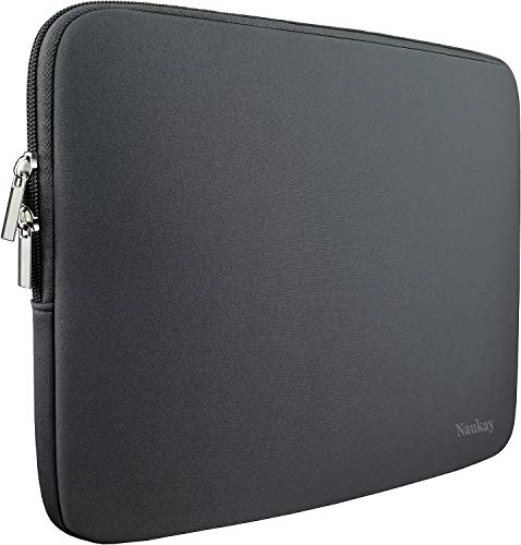 Naukay Laptop Sleeve Bag 15.6 Inch,Resistant Neoprene Laptop Sleeve/Notebook Computer Pocket Case/Tablet Briefcase Carrying Bag fit for Computer Notebook MacBook- (Grey)