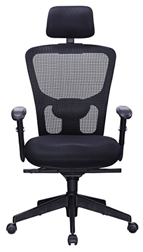 Office Factor Black Mesh High Back Executive Office Chair, Adjustable Arms, Head Rest, Seat Depth, Lumbar Support, Height, PU Casters, Ergonomic Design, Adjust and Lock in 4 Different Positions