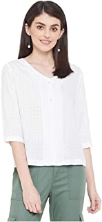 Madame Solid Polyester V- Neck Womens Top(S21MAD1S18814W-P)