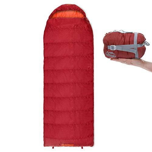 Qeedo Sommer-Schlafsack Light Hitazo XL, kleines Packmaß (19 x 17 cm) / Deckenschlafsack extrem klein & leicht (745g) - rot