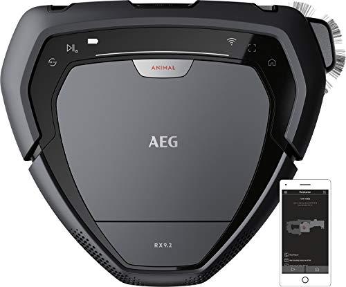 AEG RX9-2-4ANM Saugroboter / beutellos / bis zu 70 min Laufzeit / dreieckige Bauweise / Kamera- & Laser-Technologie / autom. Geschwindigkeitsanpassung / breite Bürstenrolle / 700 ml Volumen / grau